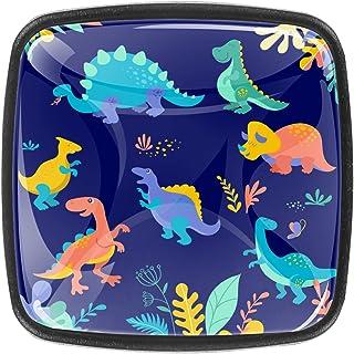 Paquet de 4 boutons d'armoire de cuisine, boutons pour tiroirs de commode Collection de dinosaures Tire les poignées de porte