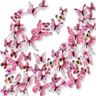 Ewong 3D Butterfly Wall Stickers Arts Decor Crafts for Kids Girls, 60PCS Home Decorations for Living Room Baby Bedroom Bathroom Nursery Classroom Office Decals - Pink