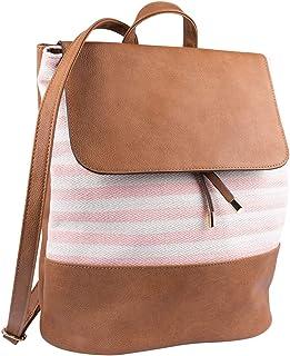 SIX Damen Rucksack aus hellbraunen Kunstleder mit Stoffeinsatz in rosa, beige gestreift (726-742)
