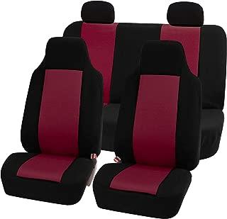 FH Group FB102BURGUNDY114-AVC Burgundy FB102BURGUNDY114 Classic Full Set High Back Flat Cloth Seat Covers, Black-Fit Most Car, Truck, SUV, or Van
