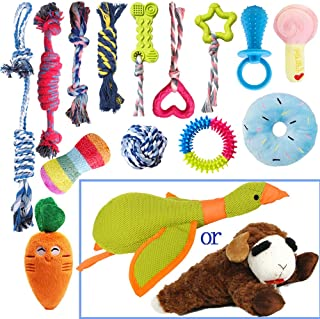 Puppy Chew Toys for Teething,15 Pack Small Dogs Squeak Plush Dog Toys,Puppies Natural Cotton Dogs Rope Toys Set