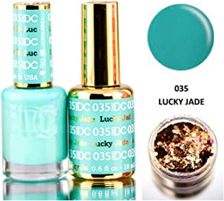 DND DC Blues & Greens GEL POLISH DUO, Gel Lacquer 0.5 oz + Matching Nail Polish Color 0.5 oz, Daisy Nails (with bonus side Glitter) Made in USA (Lucky Jade (035))