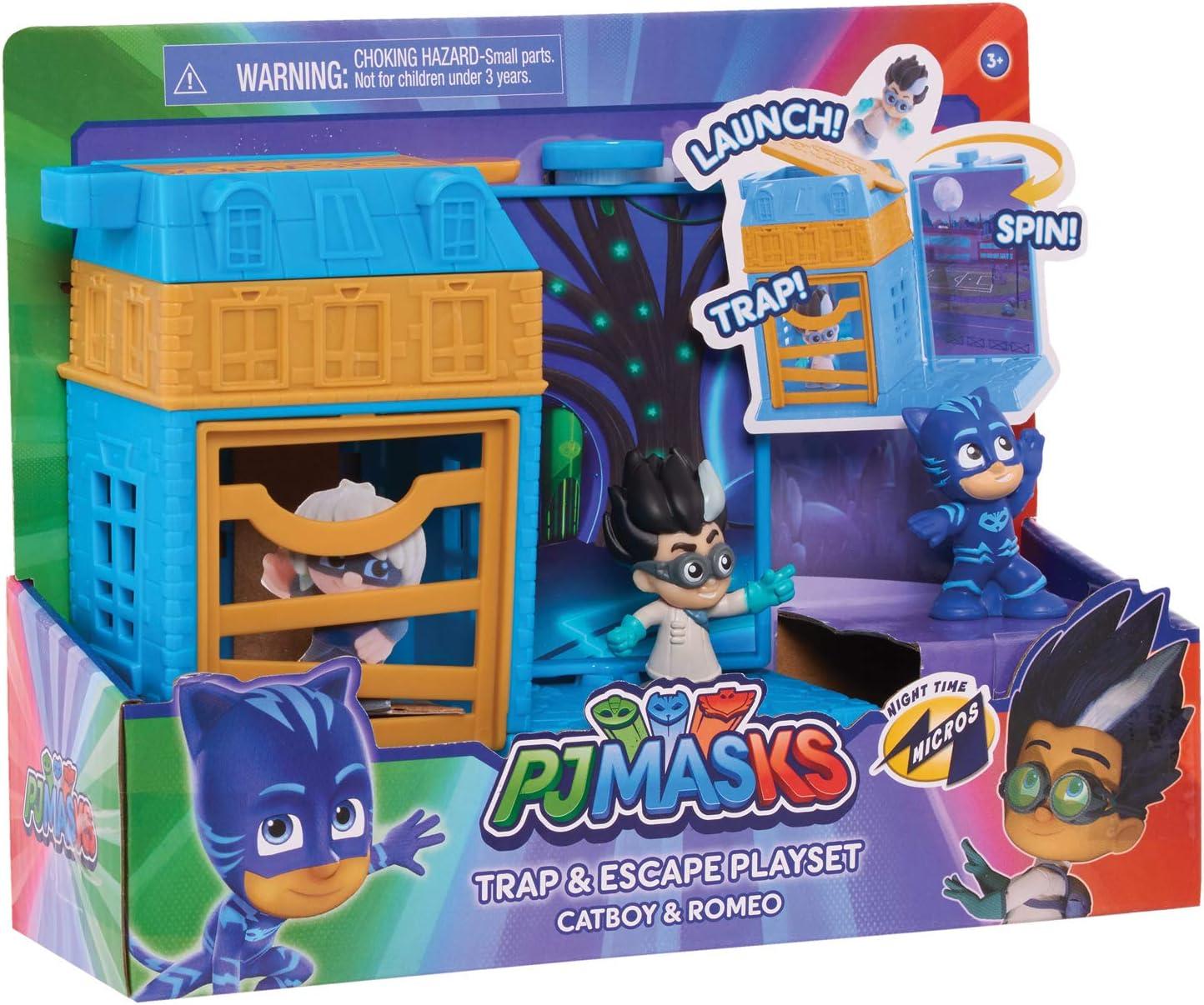 JP PJ Masks PJMA7210 PJ M/áscaras de Noche Micros Trampa y Escape Playset-Catboy /& Romeo