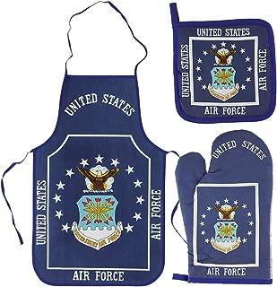 Air Force Kitchen & BBQ Set *New* w/ Apron, Oven-mitt and Pot holder-USAF Flag