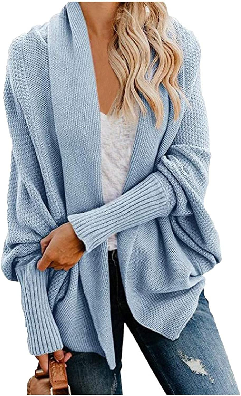YMADREIG Cardigan Sweaters for Women Casual Loose Coat Ladies Winter Clothes Knit Soft Long Sleeve Tops Solid Color Blouse