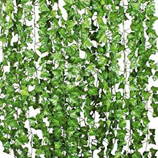 Benvo 12 Pack (84 Ft) Fake Ivy Artificial Leaves Real-Looking Greenery Hanging Garlands Vine Plants Life-Like Foliage Leaf...