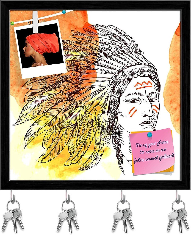 Artzfolio Native American D3 Key Holder Hooks   Notice Pin Board   Black Frame 20 X 20Inch