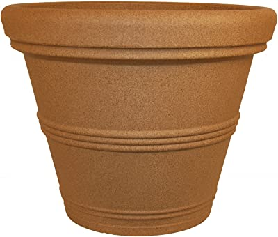 Tusco Products RR20SS Rolled Rim Garden Planter, Sandstone