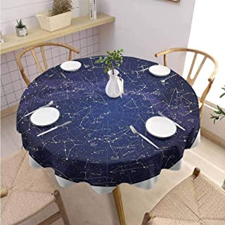 GROGON Outdoors Round Tablecloth Constellation High Detailed Sky Map of Northern Hemisphere with Names of Stars Blue Cream Violet Blue Parties Wedding Patio Dining Diameter 70