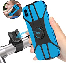 SYOSIN Bike Phone Mount, 360° Rotatable Bicycle Phone Holder with Adjustable Universal Silicone Handlebar Cradle Motorcycle Phone Mount Holder Compatible with Smartphones Black
