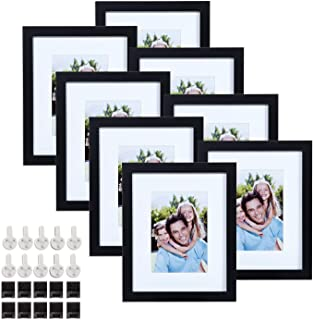 Sindcom 8x10 Black Picture Frames, Set of 8, MDF Composite Wood Photo Frames, with Mat and Glass Face, Mounting Hardware Included, for Wall or Tabletop Display