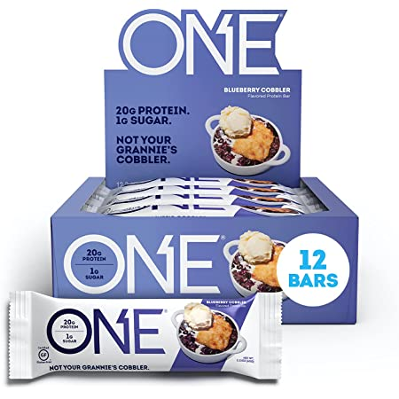 ONE Protein Bars, Blueberry Cobbler, Gluten Free Protein Bars with 20g Protein and only 1g Sugar, Guilt-Free Snacking for High Protein Diets, 2.12 oz (12 Pack)