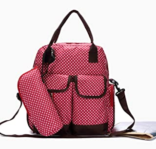 Leather Diaper Wallet Large, Support Baby Stroller, Converted Into A Tote Wallet Waterproof (Color : Red)