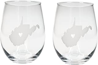 About Face Designs West Virginia Shape In White 16 Ounce Wine Glass Set of 2