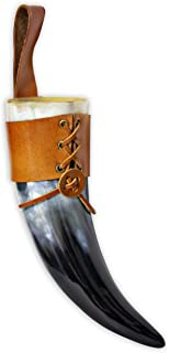 Wine/Mead Drinking Horn (4-5oz) Medieval Viking Cup w/ Brown Leather Clip Button Holster - Authentic Medieval Inspired Mug