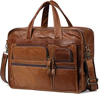 Genuine Leather Bags Men Briefcase Laptop Bag Leather for 14 Inch Laptop (Color : Yellow Brown, Size : S)