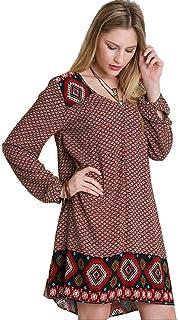 فستان فلاحي بطباعة الحدود للنساء من أومجي