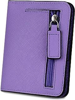 [ヤラックス]YALUXE レディース RFID ブロッキング 小さい コンパクト レザー ウォレット ミニ 財布 ID ウィンドウ クロス パープル