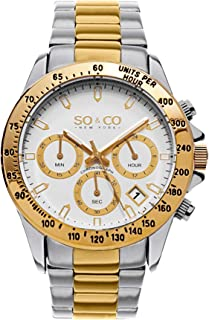 So & Co New York Monticello Men's Quartz Watch With White Dial Analogue Display and Silver Stainless Steel Bracelet 5001A.1