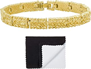 Gold Plated 7mm Wide Nugget Pattern Link Bracelet + Microfiber Jewelry Polishing Cloth