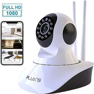 Camara IP WiFi de Interior FLUXS Cámara de vigilancia WiFi FHD 1080p con Vision Nocturna Detección de Movimiento Audio Bidireccional Seguridad para Mascotas y Bebés Compatible con iOS/Android