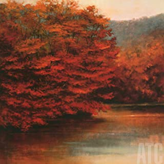 ArtToCanvas 36W x 36H inches : Riverside Maples by Robert Striffolino - Framed Canvas w/Brushstrokes