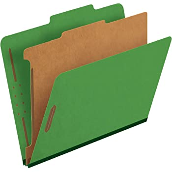 "Pendaflex Classification Folders, 1 Divider, 2"" Fasteners, Letter, Dark Green, 10/Box (23733P)"