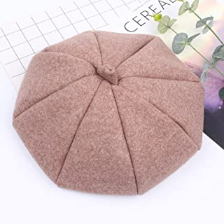 Hat Simple Beret Japanese Literature Cap Fresh Fashion Pumpkin Hat 8 Horn Caps` TuanTuan (Color : Camel, Size : Adjustable)