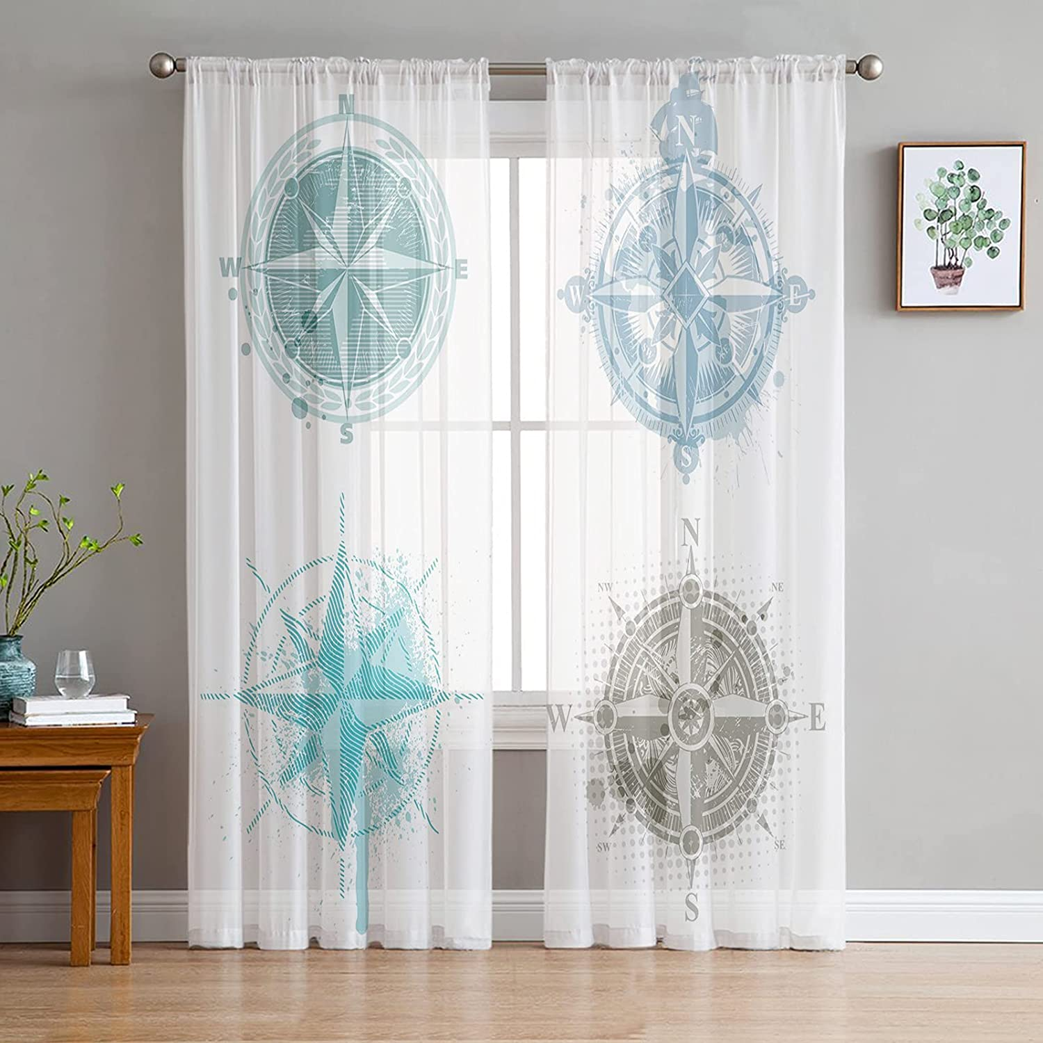 Printed House Sheer Curtains Panels Voile Pocket Semi 春の新作シューズ満載 Rod 上質