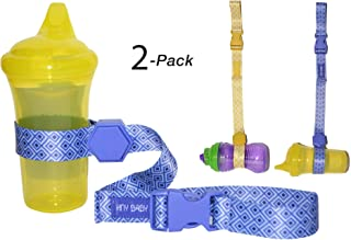 HnyBaby Sippy Cup Strap for Baby Bottle and Toy Strap 2 Pack Sippy Cup Holder with Rubber Grip for Stroller & Highchair (Blue/Yellow)