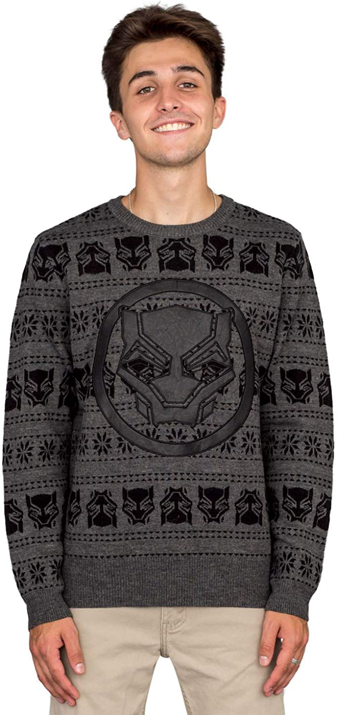 Marvel ! Super beauty product restock quality top! Comics Black Panther low-pricing Logo Adult Ugly Christmas Sweater