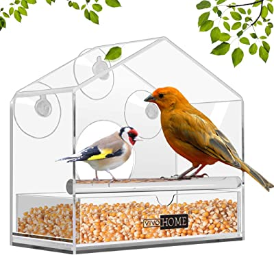 VIVOHOME Acrylic Squirrel Proof Clear Window Bird Feeder with Strong Suction Cups and Sliding Seed Tray