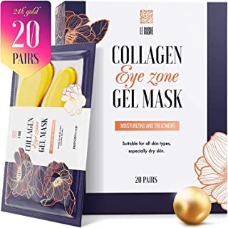 Under Eye Patches - 24K Gold Under Eye Mask Anti-Aging Hyaluronic Acid Collagen Under Eye Pads Reducing Dark Circles & Wrinkles Treatment Gel Bags