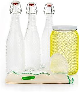 myFERMENTS Kit Préparation Boissons Probiotiques - Set de Fermentation pour Bière, Kefir - Grands Bocaux en Verre de 2L, 3...