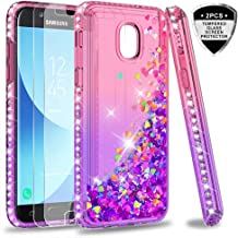 Galaxy J3 2018 Glitter Case,J3 Star/J3 Achieve/Express Prime 3/Amp Prime 3 Case with Tempered Glass Screen Protector for Girls Women,LeYi Diamond Liquid Case for Samsung J3V J3 V 3rd Gen Pink/Purple