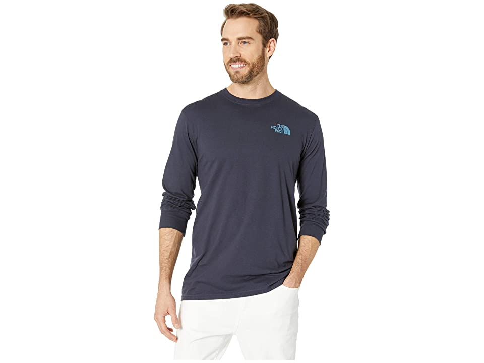 The North Face Long Sleeve Red Box Tee (Urban Navy/Storm Blue) Men