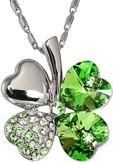 Dahlia Four Leaf Clover Necklace with Swarovski Crystals, Rhodium Plated, 16