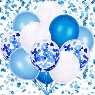 60PCS Latex Confetti Balloons White & Blue Latex Balloons 12 Inch Helium Balloons Party Supplies for Wedding Birthday Baby...