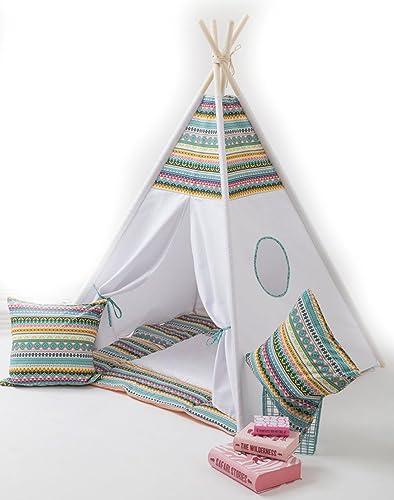 Zauberspiel Spielzelt mit Bodenspielmatte und Kissen- Ethno Tippi Indianerzelt Spielhaus Zelt Set-100% Baumwolle + Birkenholz, Mehrfarbig