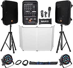 "JBL EON208P 8"" Portable Bluetooth Speaker System+Mixer+Stands+Facade+Par Lights"