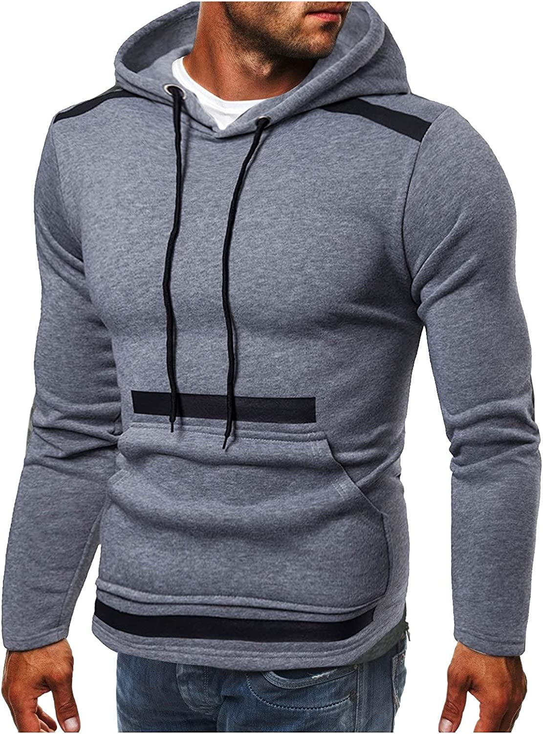 HONGJ Patchwork Hoodies for Mens, Fall Color Block Stitching Hooded Sweatshirts Slim Fit Workout Sports Zipper Jackets