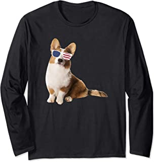 Cardigan Welsh Corgi Wearing Sunglasses 4th Of July Dog Long Sleeve T-Shirt