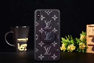 iPhone 8 Plus Case, Premium PU Leather Slim Fit Cover Case with Phone Holder, Classic Embossed Designer Phone Case for iPhone 8 Plus and iPhone 7 Plus, Black