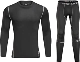 LongAo Mens' Athletic Base Layer Compression Underwear Shirt & Tights Set