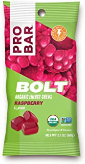 PROBAR - Bolt Organic Energy Chews, Raspberry, Non-GMO, Gluten-Free, USDA Certified Organic, Healthy, Natural Energy, Fast Fuel Gummies with Vitamins B & C (12 Count) Packaging May Vary
