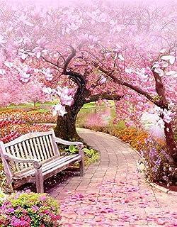 WACYDSD Flores De Cerezo Paisaje DIY Pintura Digital por Números Acrílico Cuadro Pintado A Mano Pintura Al Óleo Personalizado Arte y manualidades