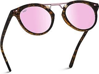 WearMe Pro - Polarized Round Vintage Retro Mirrored Lens Women Metal Frame Sunglasses