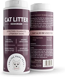 Smiling Paws Pets The Original 3-in-1 Cat Litter Deodorizer – Natural Ingredients - Kitty Litter Box Scent Remover with Moisture Absorbent Formula – Odor Eliminator and Neutralizer – 3-Pack -11OZ