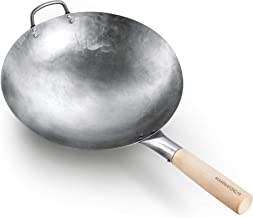 Round Bottom 14-inch Traditional Carbon Steel Wok Pan - Authentic Hand Hammered Woks and Stir Fry Pans - Pow Wok with no c...