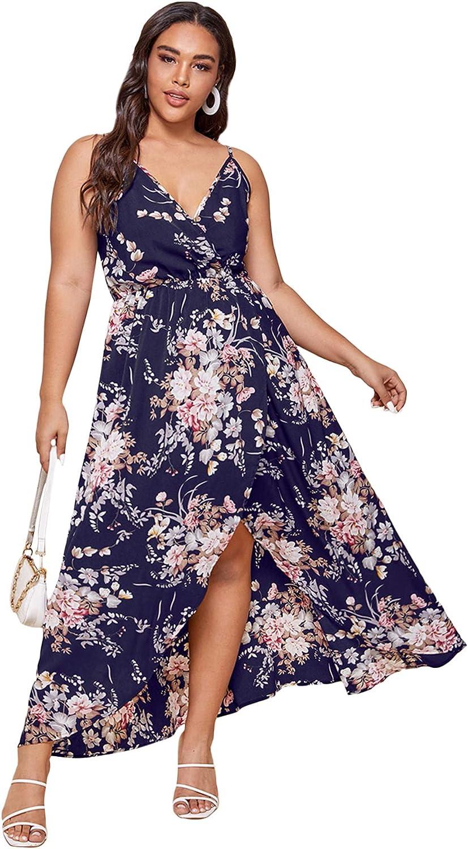 Floerns Women's Plus Size Floral V Neck Wrap Sleeveless Party Cami Maxi Dress